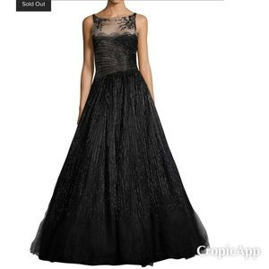 Valentino Women 0/2 Black Beaded Lace Evening Gown